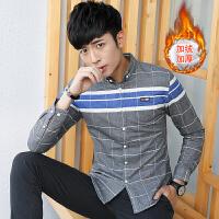 冬季新款男士加绒保暖衬衫韩版修身加厚格子印花男装衬衣