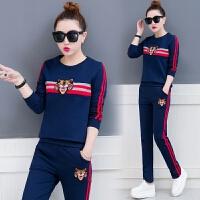运动时髦套装女春秋季2018新款韩版长袖学生休闲跑步服卫衣两件套