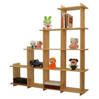 【满200-100】宜哉 黄松多格架 书柜 靠墙书架 梯形斜置物架 创意格子架
