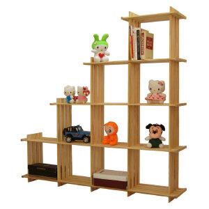 【每满100-50】宜哉 黄松多格架 书柜 靠墙书架 梯形斜置物架 创意格子架