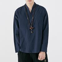 中国风男装长袖T恤V领秋季新款宽松大码复古中式刺绣汉服上衣男