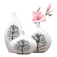 客厅装饰品电视柜摆件家居饰品陶瓷花瓶三件套 白桦树