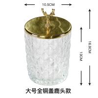 美式北欧样板间金属不锈钢鹿头玻璃器皿储物罐摆件软装饰品