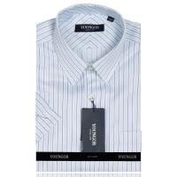 YOUNG雅戈尔蓝色条纹全棉免烫短袖衬衫SDP16716-22