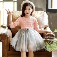 儿童连衣裙 女童春季新款长袖纯色纹路韩版新潮时尚休闲可爱中长款中大童款式裙子