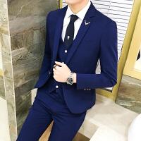 18秋冬装男士韩版修身英伦风西服套装潮流青年免烫休闲西装三件套