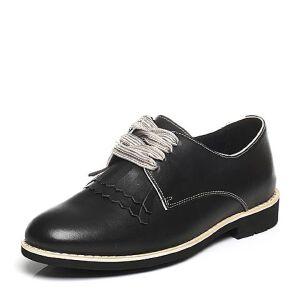 【鞋靴超级品类日】BASTO/百思图2017春季专柜同款牛皮休闲流苏方跟女皮鞋YCT01AM7