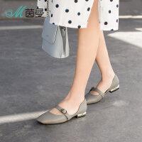 茵曼女鞋18年春季新品一字扣带平底懒人鞋浅口单鞋女4882050006