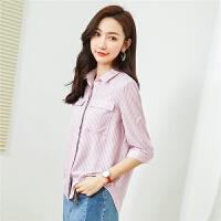 粉色衬衫女夏装2018新款女竖条纹衬衣韩版百搭小清新七分袖上衣女30082293