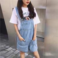 韩国学院风减龄背带裤女宽松bf俏皮学生大口袋牛仔连体裤夏季短裤