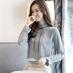 哆哆何伊2018春装新款韩版长袖雪纺衫女立领细带雪纺长袖打底衬衫
