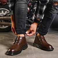 秋季新款马丁靴英伦风皮靴复古男靴子短靴潮靴高帮休闲男鞋子