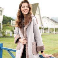冬装新款加厚毛毛大衣加厚保暖皮绒外套女毛呢外套D74640