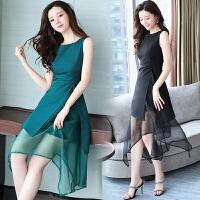 夏季新款韩版欧根纱连衣裙女装时尚不规则中长款黑a字裙子仙