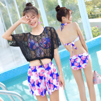 韩国小香风泳衣女大小胸聚拢四件套分体裙式比基尼保守防晒罩衫