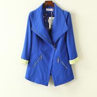 冬装外套女新 韩版纯色拉链女士西服中袖外套女
