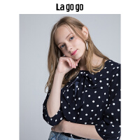 Lagogo2019秋季新款女装圆点印花娃娃领宽松雪纺衫女中长袖上衣HCSS407A14