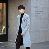 新款冬装个性玫瑰刺绣中长款呢大衣男韩版修身风衣夜店发型师男装