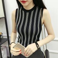 夏季女装韩版百搭条纹修身上衣针织衫套头学生无袖背心打底衫