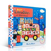 英文原版绘本 Busy London at Christmas 圣诞节繁忙的伦敦 0-3-5岁低幼启蒙儿童阅读精装机关