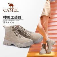 【下单立减120元】Camel/骆驼女鞋 2019冬季新款 女士高帮鞋酷美金属扣工装马丁靴女