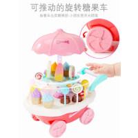 儿童过家家冰淇淋车玩具女孩3-6周岁仿真小手推车糖果车冰激凌车
