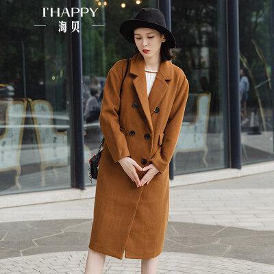 海贝2017冬季新款女装 西装领双排扣长袖休闲长款羊毛呢外套大衣