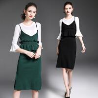 秋装新款女喇叭袖吊带针织连衣裙背带裙两件套时尚套装裙显瘦