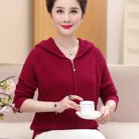 中老年女秋冬季粗毛线羊毛衫外套40岁50妈妈色连帽拉链针织开衫