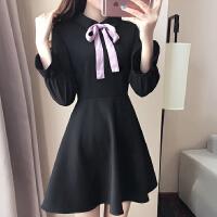 2018秋装新款韩版女装复古蝴蝶结小黑裙收腰显瘦娃娃领长袖连衣裙 黑色