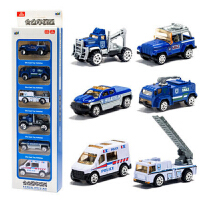 合金车模玩具小汽车模型救护车警察工程仿真儿童军事套装组合男孩