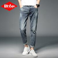 Lee Cooper怀旧复古弹力裤子直筒修身小脚裤时尚青年牛仔裤