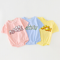 新生儿衣服三角哈衣婴儿连体衣纯棉夏季装男女宝宝包屁衣短袖薄款