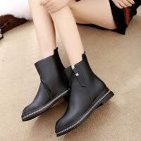 2017春季新款女鞋韩版中筒短靴女平跟加绒马丁靴英伦风女靴保暖88888ML支持货到付款