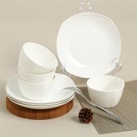 【当当自营】SKYTOP斯凯绨 碗盘碟陶瓷骨瓷餐具套装8头 白瓷方形