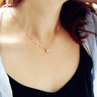 韩版韩国镀18K玫瑰金彩金钛钢项链女短款锁骨链时尚饰品 幸运星 项链