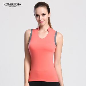【满100减50/满200减100】Kombucha瑜伽健身背心女士速干透气修身立领健身跑步运动背心K0109