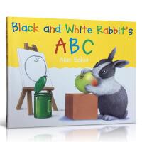 【全店300减100】英文绘本Black and White Rabbit's ABC 小兔子系列 黑白兔ABC