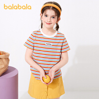 巴拉巴拉女童短袖t恤大童夏装2021新款儿童打底衫条纹上衣弹力潮