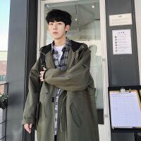 韩版潮牌军绿色加厚工装大衣外套秋冬男士帅气连帽宽松中长款风衣
