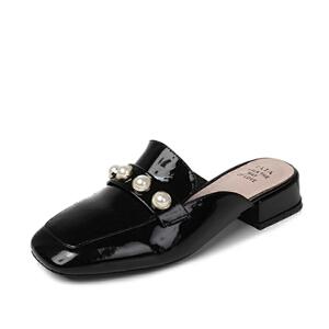 Tata/他她2017年夏季牛皮时尚方头珍珠通勤穆勒鞋女凉鞋FI901BH7
