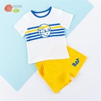 贝贝怡婴儿夏装男童短袖套装纯棉卡通宝宝洋气衣服夏季运动休闲装