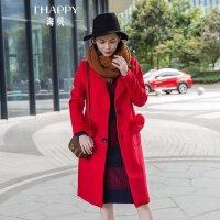 海贝2017冬装新款女装 西装领长袖狐狸毛口袋中长款毛呢大衣外套