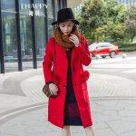 海贝 2017冬装新款女装 西装领长袖狐狸毛口袋中长款毛呢大衣外套