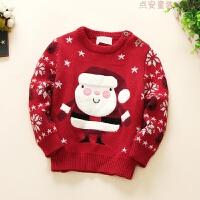 韩版童装冬女童双层圣诞套头毛衣儿童针织衫宝宝打底上衣