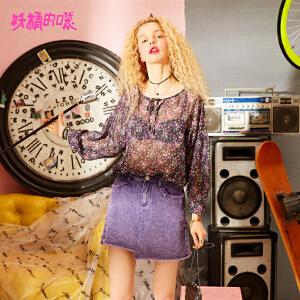 妖精的口袋紫色雪纺衫2018新款chic系带上衣碎花长袖衬衫女