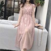 复古韩国i风吊带背心裙+网纱罩衫花朵钉珠两件套仙女连衣裙