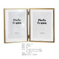 金属玻璃几何相框创意挂墙摆件照片装饰画框4 6 7寸 金色(联系客服打印照片)