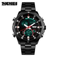男士手表个性电子手表时尚潮流双显大表盘钢带腕表