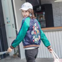 秋冬新款欧美拼色刺绣棒球服新款外套女短款小清新夹克